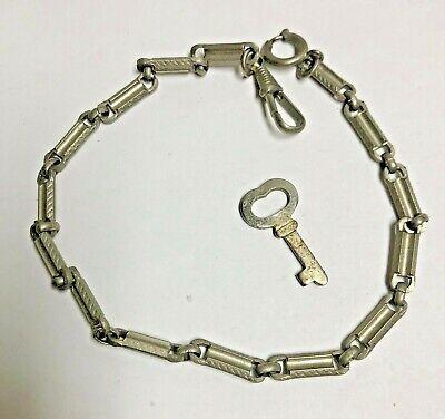 Vintage Steel Links Pocket Watch Chain w/ watch key