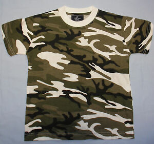 Boys Childrens Camo Camoflage Short Sleeve Tshirt Top Blue Green Grey