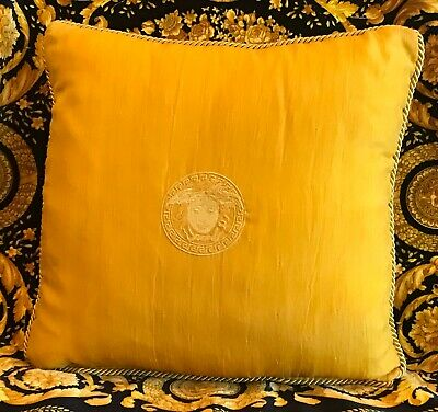 ORIGINAL GIANNI VERSACE GOLD MEDUSA SILK PILLOW