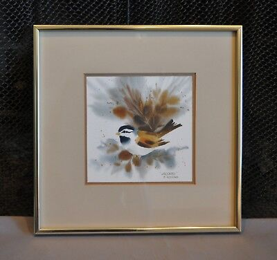"Watercolor Painting ""Chickadee"" Bird on Branch - Calif. artist Robert A Fleming"
