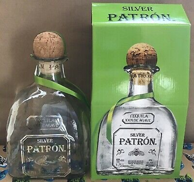 Patron Silver Tequila Bottle with Cork & Tag & Box ~ Empty 1.75 Liter Fast Ship