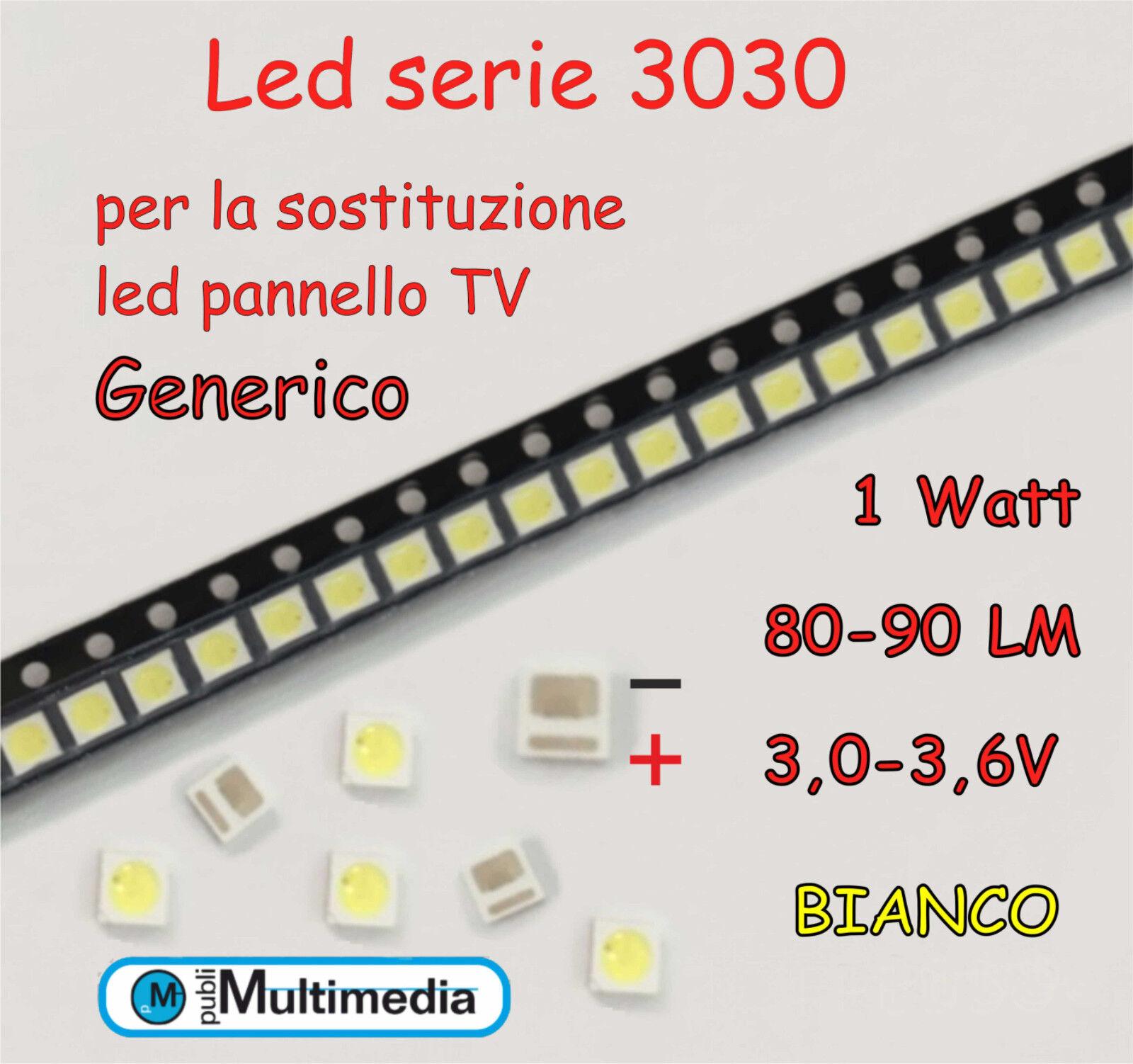 10 Led 3030 per ricambio retroilluminazione TV 1W 3,0-3,6V 80-90LM
