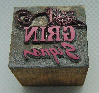 Vintage Printing Letterpress Printers Block Grin Signs