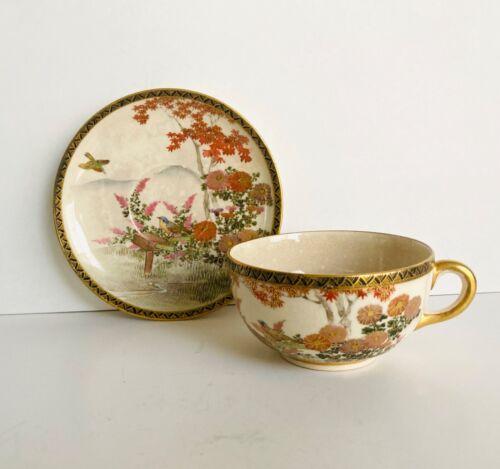BEAUTIFUL JAPANESE MEIJI PERIOD SATSUMA TEA CUP & SAUCER SET SIGNED