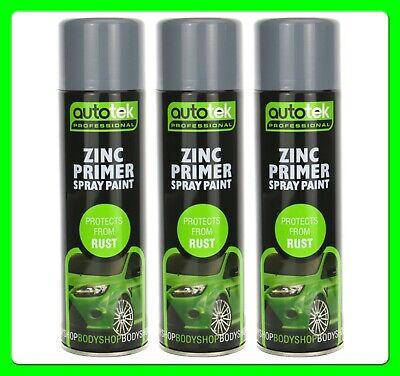 * Pack of 3 * Weld Through Grey Zinc Primer 500 ml Aerosol [AT000ZP500]