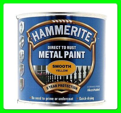 Yellow Hammerite Smooth Finish 250 ml [5084874] Paints Direct to Metal - Hammerite Metal Smooth Finish