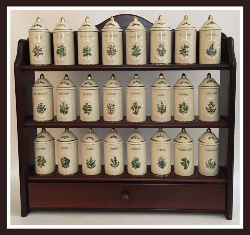 Lenox Spice Garden 24 Spice Jar Set With Wood Display Shelf Rack - 1992