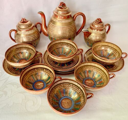 LOVELY ANTIQUE JAPANESE 1000 FACES ROW OF ROBES GILDED COFFEE TEA SERVICE FOR 6