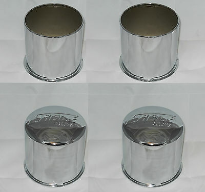 (2) OPEN (2) CLOSED 4x4 EAGLE ALLOYS 3118 WHEEL RIM CENTER CAP CHROME 4.25