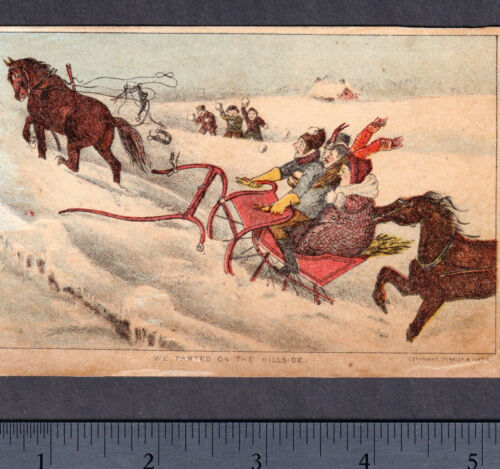 c 140 yrs old Currier & Ives Christmas Sleigh Victorian Winter Horse Trade Card
