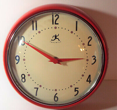 RETRO RED KITCHEN WALL CLOCK BY INFINITY WORKING