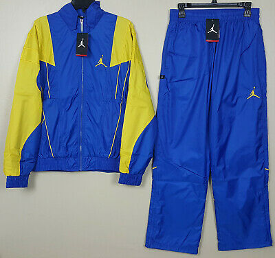 NIKE AIR JORDAN V RETRO 5 LANEY SUIT JACKET +PANTS BLUE YELLOW RARE (SIZE LARGE)