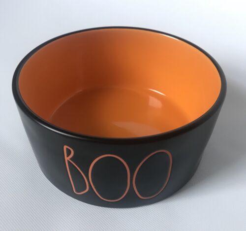 "Rae Dunn Halloween Black Orange ""BOO"" LL Dog Pet Food Bowl Medium Dish 2019 New"