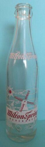 Rare, Vintage Milton Spring Beverages Soda Bottle (clear, 8 oz.)