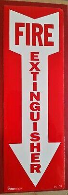 Firetech 12 X 4 Arrow Fire Extinguisher Signs White On Red Vinyl Sticker Bl108