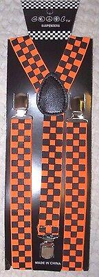 Neon Orange Suspenders (Unisex Black and Neon Orange Checkered AdjustableY-Style suspenders-New in)