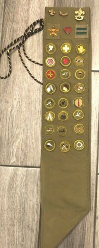 """Boy Scout Type A Square Merit Badge Sash Vintage 1930""""s"""