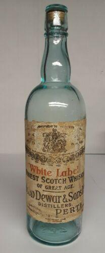 RARE Vintage Dewar's White Label Scotch Whisky John Dewars  glass stopper 1900