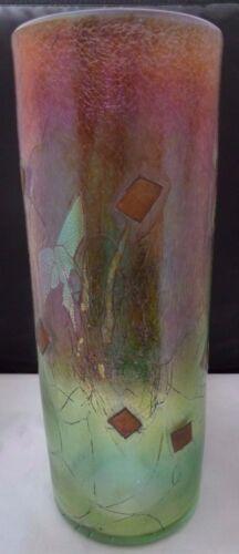Robert Held Hand Blown Iridescent Art Glass  Vase ~ Signed & Original Label 15.5