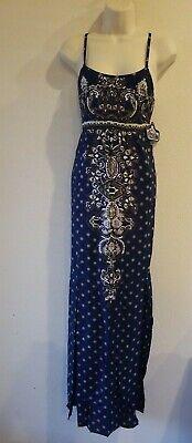 Angie Navy Blue Multi Color Bohemian Split Front Goddess Maxi Dress Size Small Multi Blue Dress