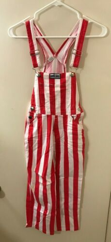 """"""" GAME BIBS INC."""" Red White Striped Bib Overalls Youth Size 8  (21x21)  VGC"""