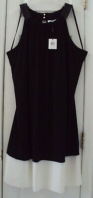 NEW! CALVIN KLEIN (WOMAN) 2X 20W/22W BLACK WHITE SPANDEX SHORT SUNDRESS $119.00