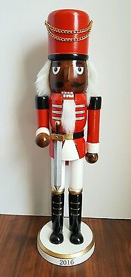 "African American Soldier Guard Nutcracker Ethnic Red Wooden 15"" Christmas NEW"