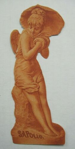 "Victorian Diecut Trade Card Female Statuette Sapolio Soap 2"" by 5"" B3"
