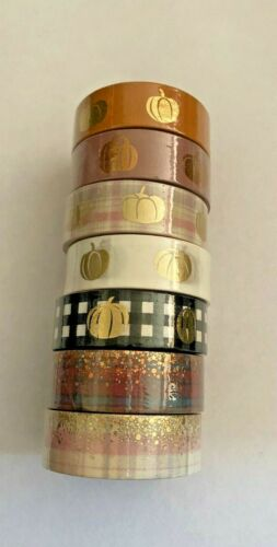 7 Rolls of 15 mm Simply Gilded Cozy Pumpkins and Plaid Stardust Washi