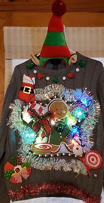 AWESOME Tacky Crazy Ugly CHRISTMAS Sweater Mens L Womens XL - Lights and hat!