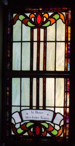 Antique Church Stained Glass Window Architectural Salvage Arts & Crafts 3959C