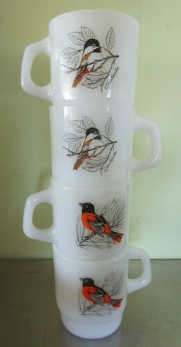 Lot of 4 Vintage Fire King Stackable Song Bird Mugs