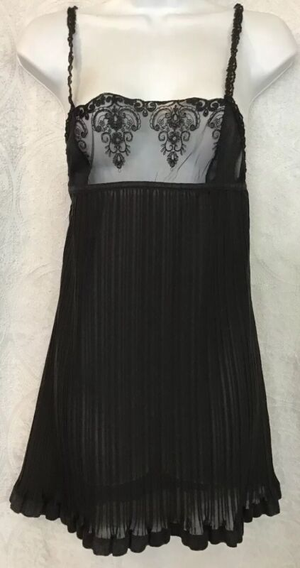 La Perla Nightgown And Panties Black Empire Waist Pleated Skirt Lace Top Size 2