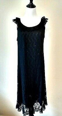Vintage Miss Siren Black Lace Nylon Nightgown M