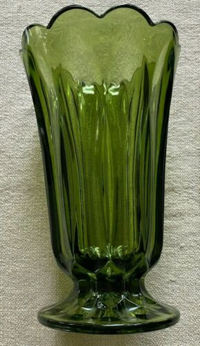 """Vintage Mid Century Avocado Green Glass Fluted Scallop Large 8.5"""" Vase Indiana"""