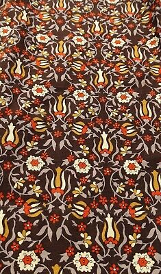 Vintage 1970's curtain in bold orange brown floral fabric / material Unused VGC