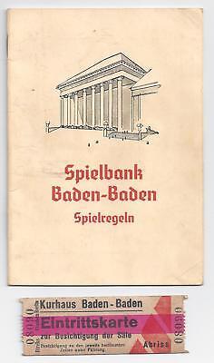 Casino/Spielbank - Spielregeln u. Eintrittskarte um 1940 -  Baden - Baden