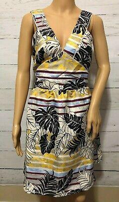 NWT H&M Hawaiian Striped Floral Open Back Tank Dress Sz 14 Aloha Friday New D6