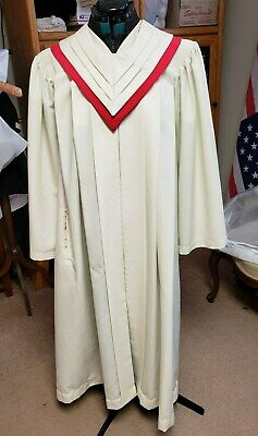 COKESBURY CHOIR GOWN ROBE W/PLEATED PENNANT STYLE STOLE IVORY/RED 57
