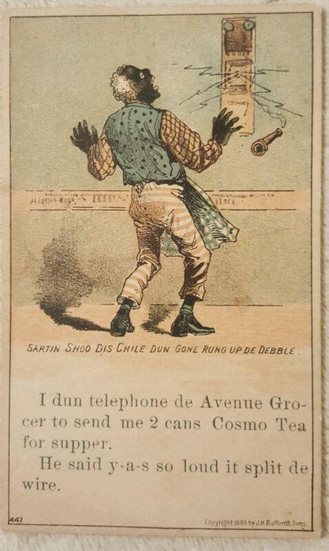 Antique Vintage Victorian Trade Card Advertising Black Americana Cosmo tea