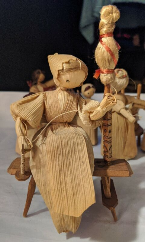 Czechoslovakian Corn Husk Doll - Vintage - Lady with Spindle * RARE * HAND-MADE