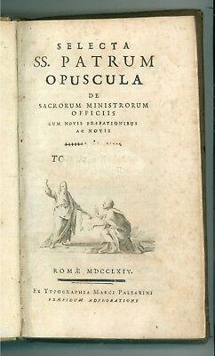FRANCISCUS A PUTEO DAL POZZO SELECTA SS. PATRUM OPUSCOLA TOMUS I PALEARINI 1764