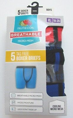 Boys Fruit of the Loom Breathable Boxer Briefs ~ Size XL 18-20 ~ 5