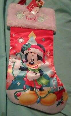 NEW Disney Mickey Mouse Ho Ho Ho Christmas Stocking Satin with Plush Cuff
