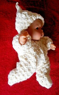 """Doll Clothes Ivory Hand knitted romper footed for baby 8 - 9in fit Berenguer 8"""""""