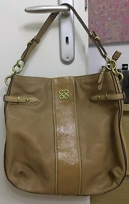 New York City Bag (COACH New York Tasche City Tote Bag Echtleder Beige Damen Ledertasche Lackleder)