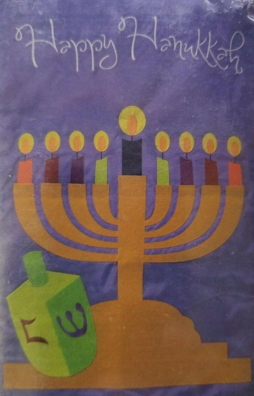 "Menorah ""Happy Hanukkah"" 28"" x 44"" Applique House Flag by Ev"