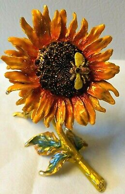 YELLOW Sunflower Bee Trinket Bejeweled Crystal Metal Enamel Pill Box Excellent