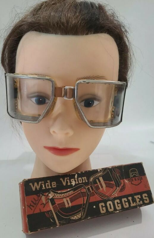 Vintage CESCO Wide Vision Old Tool Safety Goggles w/Box  Steampunk Motorcycle