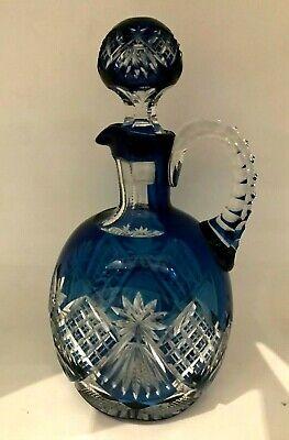 Carafe spirit bottle cristal Val Saint Lambert doublée bleu pétrole taillée 1908